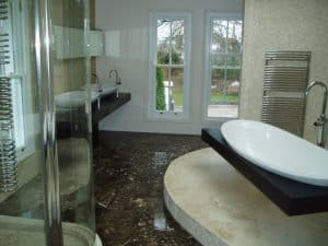 Marble and travertine designer bathroom