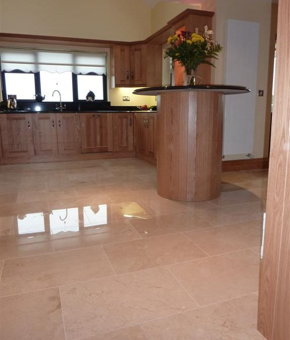 Polished Crema Marfil Kitchen Tiler