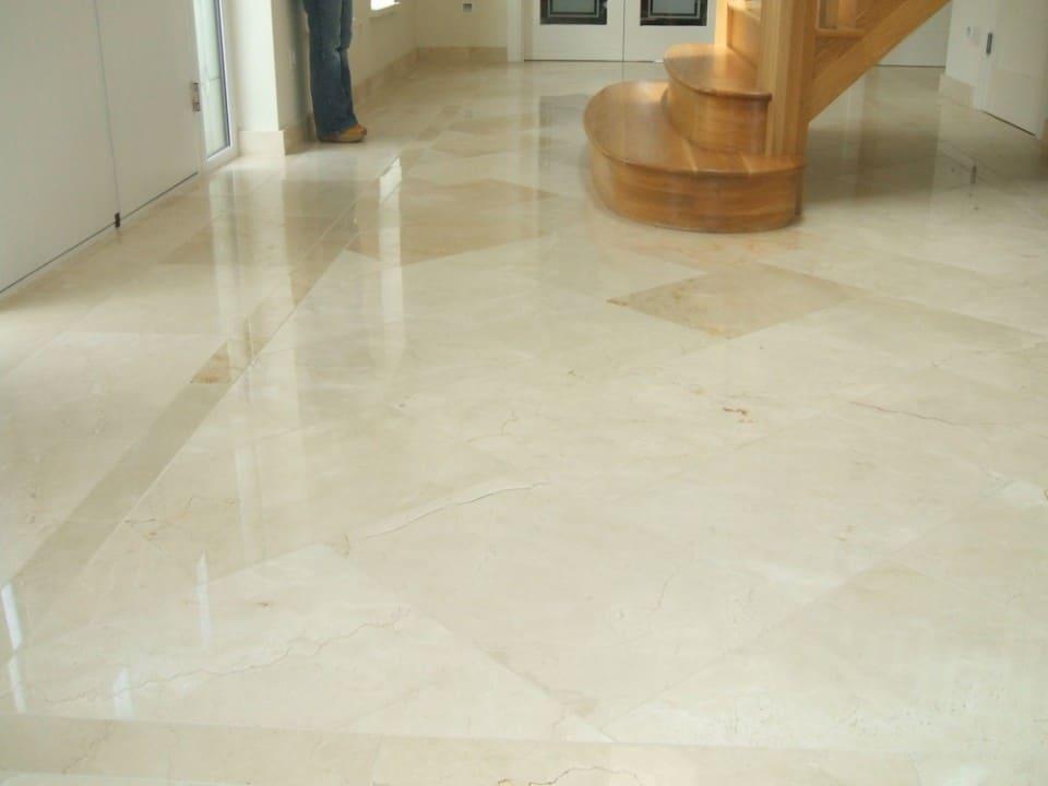 Crema Marfil Polished Marble Entrance Hall