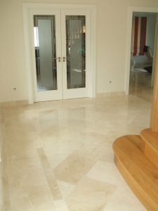 Crema marfil tiles in the hallway