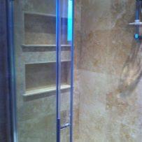Travertine Shelves Tiled in a Shower