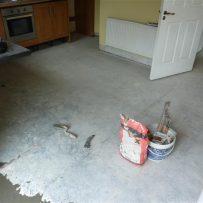 Kitchen Floor Prepared for Tiling