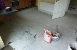 Kitchen Floor Prepared for Tiling