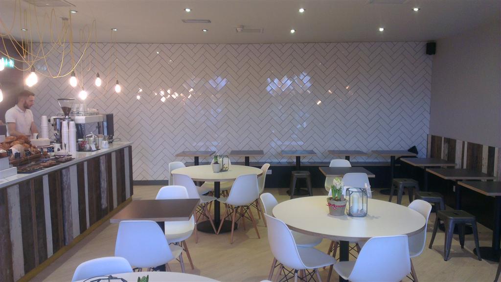 Herringbone tile design on a wall