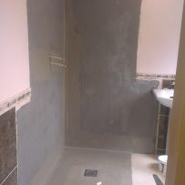 Permabase boards and tanking installed in wetroom too