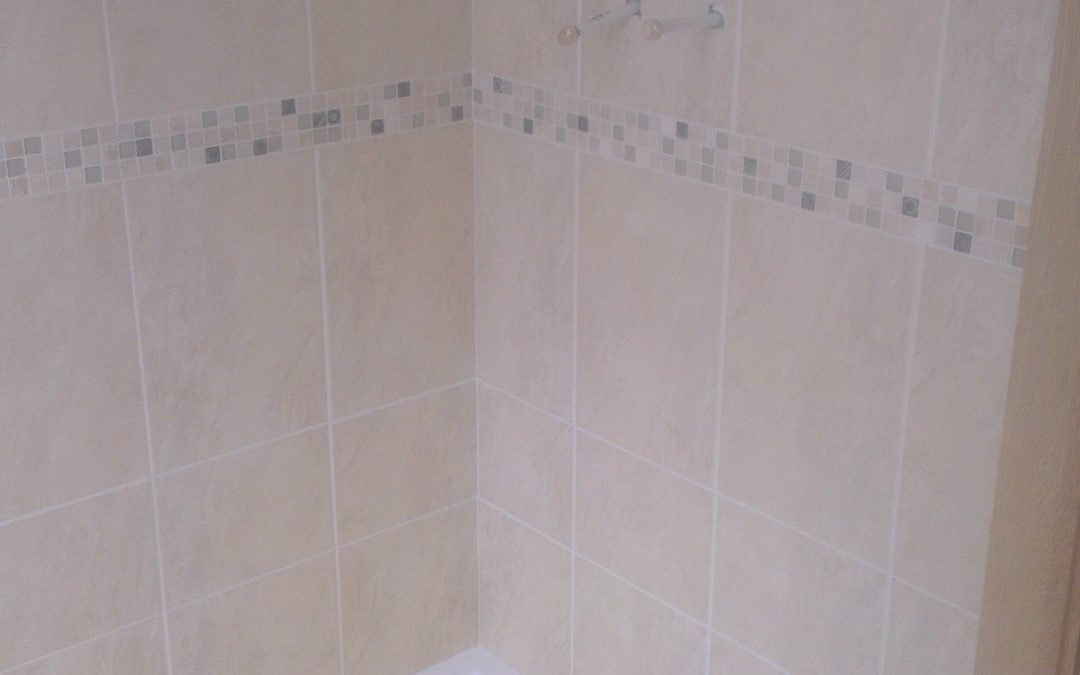 Shower tiling and grouting completed with edges siliconed