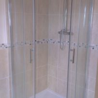 Original shower doors and rain shower re-fitted, bathroom completed :)