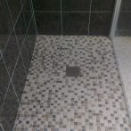 New mix travertine mosaic tiles fitted and tiling and grouting completed