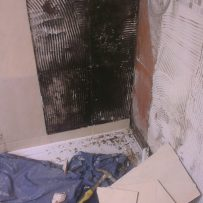 Shower doors removed & more loose tiles revealing the bad news