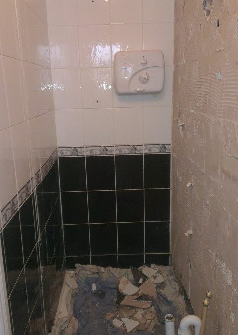 Starting to remove the tiles