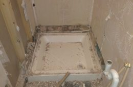 Damaged plasterboard from leaking shower