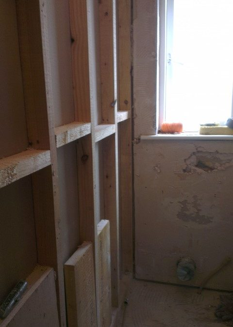 Plasterboard removed in ensuite