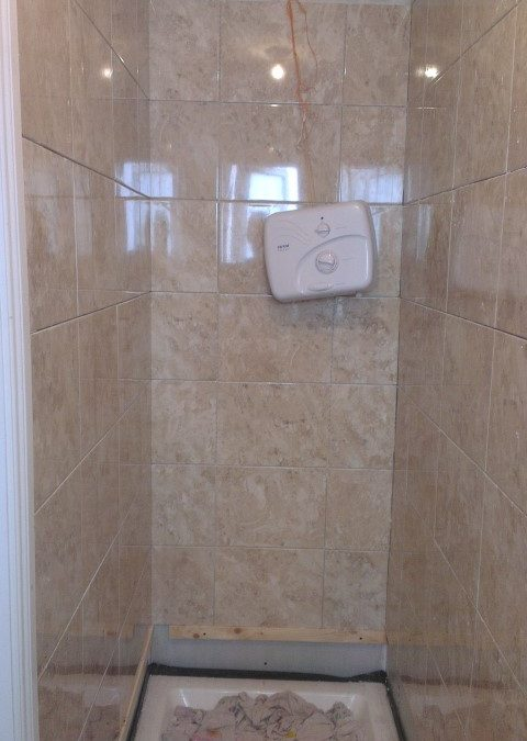 Tiling shower area
