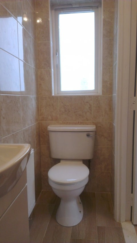 Toilet radiator & new vanity unit fitted
