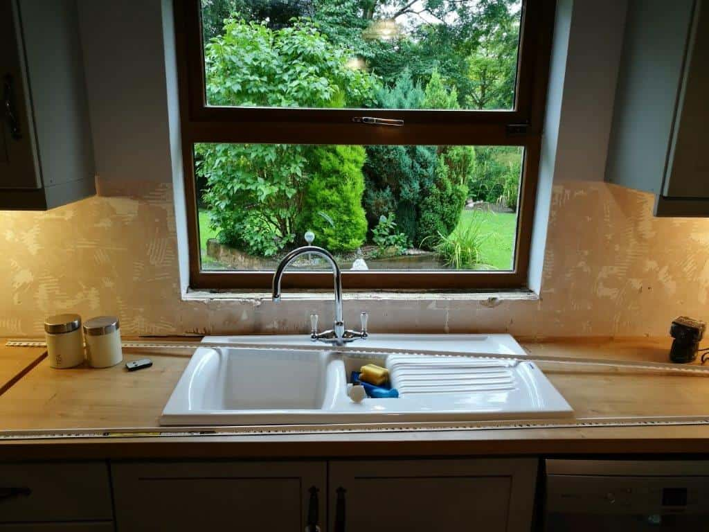 A country kitchen before tiling